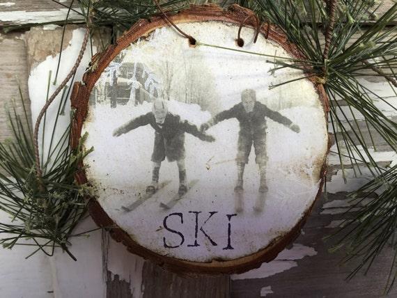 "Vintage Kids Snow Skiing - ""Boys Will Be Boys"" - Vintage Ski - Christmas Tree Ornament - Wood Slice - Old Ski - Boy - Gift Tag - Skier"