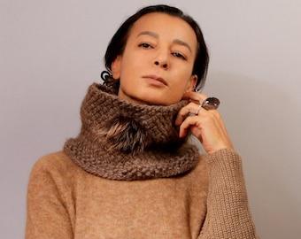 Brown Knit Scarf, Cowl Infinity Scarf, Chunky Infinity Scarf, Snood Fashion Scarf, Merino Wool Alpaca Real Fur Brooch / Christmas Women Gift