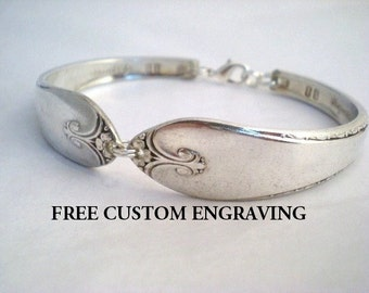 Spoon Bracelet, FREE ENGRAVING, Bridesmaid Bracelet, Silver Bracelet, Bridal Jewelry, Vintage Wedding, Silverware Jewelry - EXQUISITE 1940