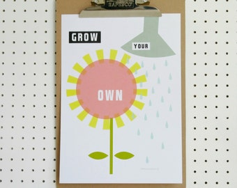 Flower Print Grow Your Own A4 Poster Art