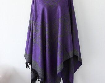 Bohemian cape Dark purple poncho Winter fashion Boho chic poncho Double sided Native cape Women clothings Hippie outerwear Vegan poncho