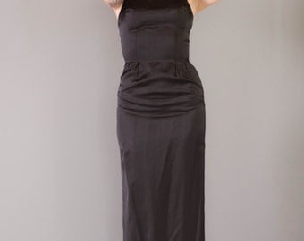 Vintage 1950s Bombshell Dress - 50s Evening Gown - Black Satin Evening Gown