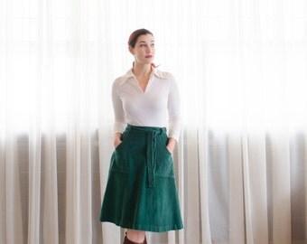 70s Wrap Skirt - Vintage 1970s Corduroy Skirt - Rocky Mountain High Skirt