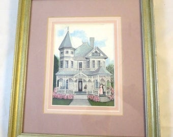Vintage Victorian House Print Couple Dancing Signed Bonnie Holden 3 Pink Matts Silver Tone Wood Frame 9 x 11 inches Anniversary Waltz Print