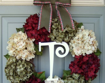 Christmas Wreath - Holiday Wreath - Christmas Holiday Monogram Hydrangea Wreath