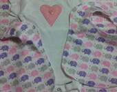 Baby Girl Layette Gift Set Elephants and Polka Dots Onesie Bibs Blanket