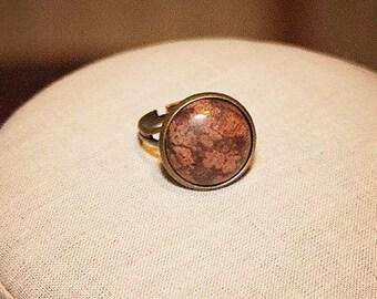 Leopardskin Jasper Ring Jasper Gemstone Ring Adjustable Stone Ring Mauve Brown Stone RIng