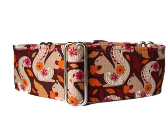 Squirrel Martingale Collar,  2 Inch Martingale Collar, Fall Martingale Collar, Squirrel Dog Collar, Greyhound Collar, Whippet Collar