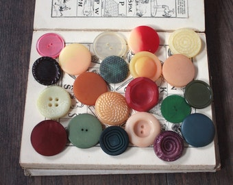 21 Mixed Vintage Buttons // Mixed Lot // 1940s 1950s 1960s //  New Old Stock Buttons // Assorted Sample Pack // Destash