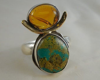 Baltic Amber Turquoise Sterling Silver Ring Native American