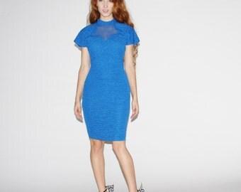 1980s Electric Blue Body Con Party Dress - Vintage 1980s Bodycon Dress - Vintage Body Con Dress - WD0460