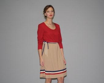 Vintage 1980s Striped Nautical Dress - 80s  Striped Dress  - 80s Striped Dresses - WDO640