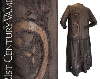 1920s Flapper Dress. Art Nouveau Cutwork and Soutache Design on Sheer Silk Organza. Stunning details. Large Size. 20s, 30s.
