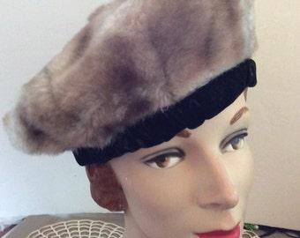 Vintage 1960s Hat Beret Tam Faux Fake Fur With Black Velvet