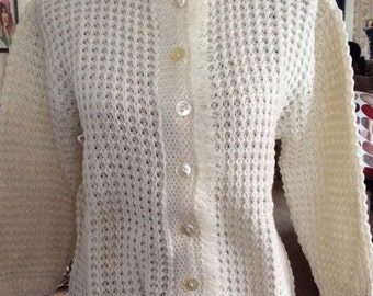 Vintage 1950s 1960s Sweater Cardigan Shortie Off White Virgin Wool Mother Of Pearl Buttons Fringe Accent Su Marshall Label