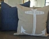 16x16 Nautical Anchor Pillow Cover / Linen Fabric/ Zipper
