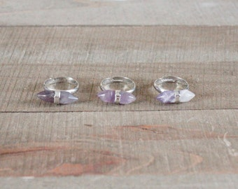 GEMSTONE RING/// Amethyst Silver Double Spike Adjustable Ring/ Purple Amethyst/ Double Terminated Amethyst Stone Jewelry/ Natural Stone