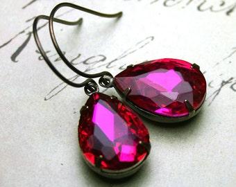 Hot Pink Vintage Glass Jewel Earrings - Jewelled Teardrop Earrings In Fuschia And Antique Brass - Designer Patina Brass Earwires