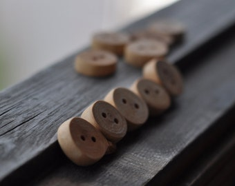 set of 10  • birch wooden button