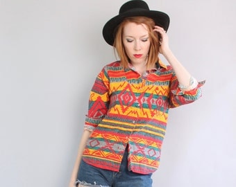 1990's Vintage Southwestern Button Up Blouse / Aztec Tribal Shirt / Small