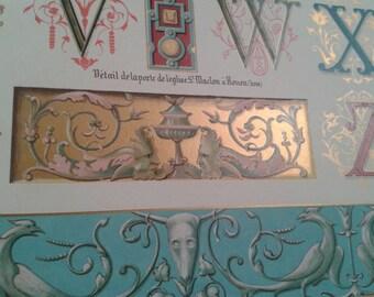 1910 Antique DECORATIVE ARTS illuminated print, Middle age ornaments, capital letters U V W X Y Z, decorative patterns, antique lithograph