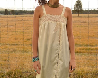 Vintage 50s Ivory Cream Long Slip Dress with Side Slit and Leaf Lace Detail