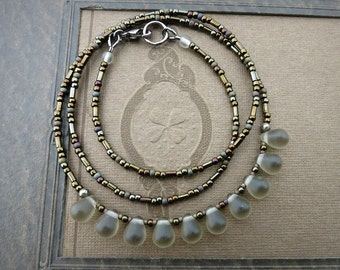 Rustic Gray Glass Necklace, subtle frosted smoky gray droplet necklace with oiled bronze accents, everyday beaded jewelry