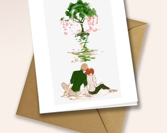 A couple in front of a tree - blank greeting card