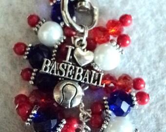 Handbag Charm, Purse Charm, Sports Charm, Baseball Charm, Beaded Handbag Charm, Beaded Accessory, I Love Baseball - GO CUBS Go!!