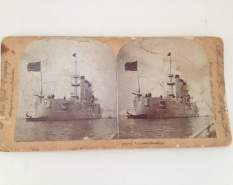 Stereoview Card 1898 US Cruiser Brooklyn Ship Keystone View Antique Photo Vintage 3D