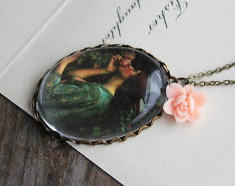 My Sweet Rose Necklace. John William Waterhouse. (magnifying pendant art book illustration fairytale jewelry antique whimsical jewellery)
