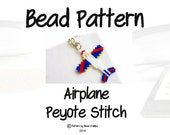 Seed Bead PATTERN - Airplane, Peyote Stitch, Bead Weaving Jewelry, Red - White - Blue
