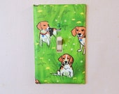 Beagles and Dandelions Fabric Covered Single Light Switch Plate