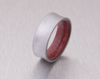 Titanium Ring red cedar ring titanium band mens wedding ring wood ring wedding band