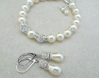 Bridal Pearl Bracelet Earrings Set Ivory Swarovski Pearls Bridal Classic Bracelet Set Bridesmaid Bracelet Wedding Pearl Bracelet Set KAREN