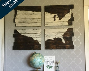 USA Map - United States of America Map - Cedar Plank USA Map - Rustic Reclaimed Map -  Ships Free