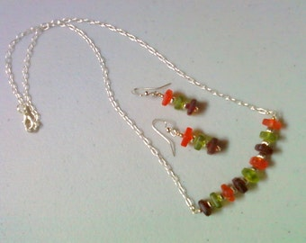 Burgandy, Orange and Green Seaglass Necklace and Earrings (0880)