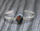 Tiny Rainbow Yuba River Rock Bracelet: Red and Grey. Sterling Silver.