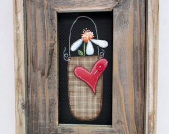 A Single Primitive Flower, Flower in Basket,Framed in Rustic Barn Wood, Hand or Tole Painted on Fiberglass Black Screen, Reclaimed Barn Wood