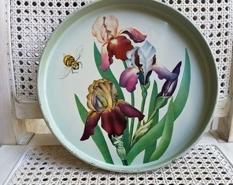 Vintage Round Metal Tray Iris Flowers Floral Botanicals Bee, Pale Green Purple Shabby Cottage Garden Decor