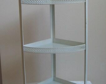 Vintage Metal Wall Shelf White Pierced Art Deco Design, Three Shelves For Corner Or Tabletop, Shabby Cottage Decor