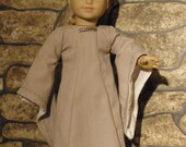 "Medieval Dress for 18"" Dolls-- Beige with Green Vine Embroidery and Silver Emellishments"
