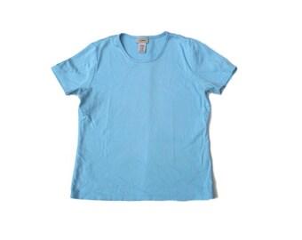 pastel blue scoop neck 90s super kawaii baby blue pastel goth short cap sleeve ll bean 1990s preppy stretch body con top shirt blouse XS S M