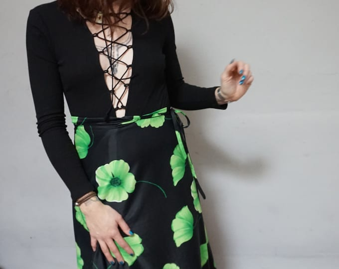 wrap tie high waist black polyester retro maxi long skirt neon green floral flower psychedelic print sea punk medium m small s vintage 70s