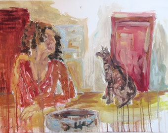 Anat and Max, original oil painting on canvas