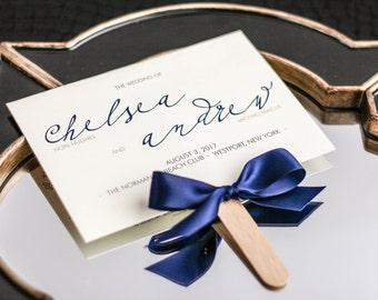 "Modern Program, Ceremony Fan Program, Navy and Gold Wedding, Blue Wedding, Destination Wedding - ""Modern Calligraphy"" Fan Program - DEPOSIT"