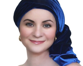 Cobalt Blue Velvet Turban, Head Wrap, Chemo Hat, Alopecia Scarf, Hat & Scarf Set 505-04