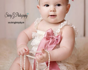 Ivory Coming Home Newborn Outfit, Lace Romper w Mauve Accents, Baby Romper, Infant Romper, Ivory Romper, Toddler Romper, Ruffle Petti Romper