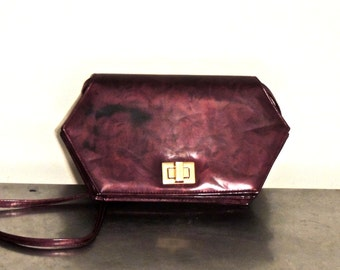vintage iridescent purse - 1970s purple hexagonal purse