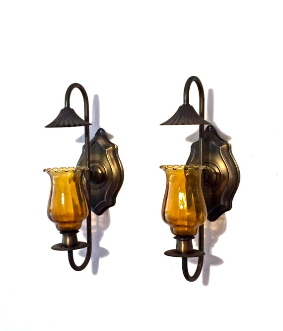 vintage candle sconces 1960s mid century brass/amber glass